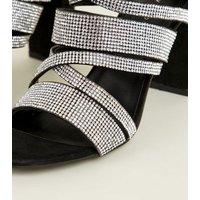 Black Suedette Diamante Strappy Block Heels New Look