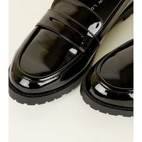 Girls Black Patent Chuncky Sole Loafers New Look