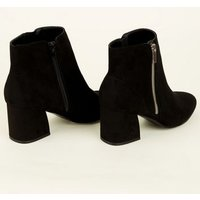 Black Suedette Flared Heel Ankle Boots New Look