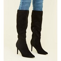 Black Suedette Knee High Pointed Stiletto Boots New Look
