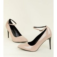 Nude Patent Contrast Heel Ankle Strap Courts New Look