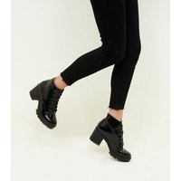 Black Patent Lace Up Chunky Ankle Boots New Look