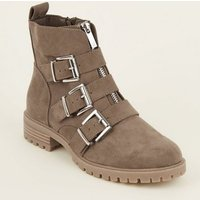 Light Brown Chunky Buckle Front Zip Boots New Look