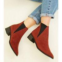 Wide Fit Rust Suedette Low Heel Chelsea Boots New Look