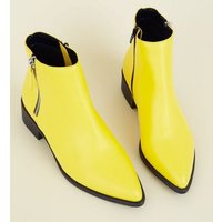 Wide Fit Yellow Block Heel Ankle Boots New Look