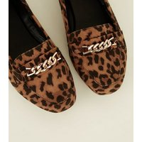 Wide Fit Tan Leopard Print Chain Loafers New Look