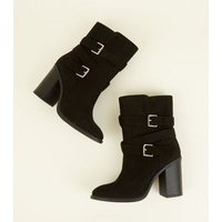 Wide Fit Black Suedette Buckle High Leg Boots New Look