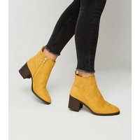 Girls Mustard Suedette Ankle Boots New Look