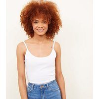 White Shoestring Cami New Look
