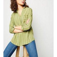 Green Stripe Overhead Shirt New Look