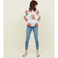 Blue Vanilla White and Red Rose Print Frill Sleeve Top New Look