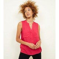 JDY Bright Pink Sleeveless V Neck Shirt New Look