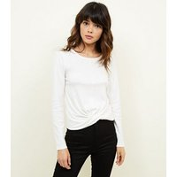 Off White Brushed Twist Front Long Sleeve Top New Look