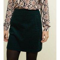 Dark-Green-Corduroy-Mini-Skirt-New-Look
