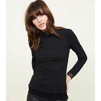 JDY Black Lace Trim Top New Look