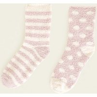 2 Pack Pink Spot and Stripe Fluffy Socks New Look