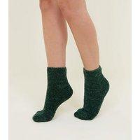 Green Chenille Socks New Look