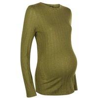 Maternity Khaki Ribbed Long Sleeve Top New Look