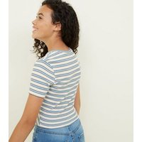 Girls Blue Ribbed Stripe Twist Front T-Shirt New Look