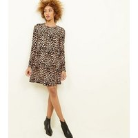 Brown Leopard Print Soft Touch Swing Dress New Look