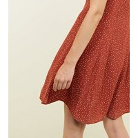 Rust Spot Print Button Through Tea Dress New Look