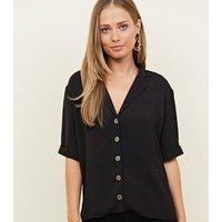 Black Button Front 1/2 Sleeve Boxy Shirt New Look