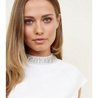 Off White Diamante Neck Cap Sleeve Top New Look