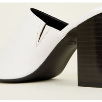 White Block Heel Square Toe Mules New Look
