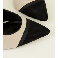 Off White Suedette Contrast Pointed Toe Court Shoes New Look
