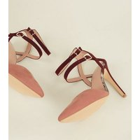 Wide Fit Pink Colour Block Double Ankle Strap Stilettos New Look