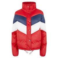 Pink Vanilla Red Chevron Puffer Jacket New Look
