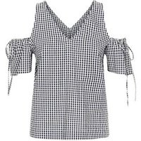Apricot Black Gingham Cold Shoulder Top New Look