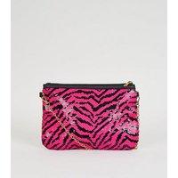 Pink 2 Way Sequin Clutch Bag New Look