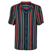 Dark Green Stripe Revere Collar Shirt New Look