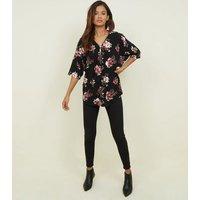 Blue Vanilla Black Floral Half Zip Oversized Top New Look