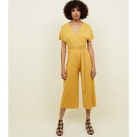Mustard Wrap Front Ribbed Jersey Jumpsuit New Look
