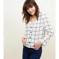 White Grid Check Long Sleeve Shirt New Look
