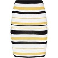 Yellow Multi Stripe Mini Tube Skirt New Look