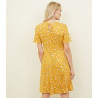 Maternity Yellow Floral Soft Touch Skater Dress New Look
