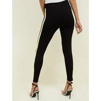 Black and Lime Green Side Stripe Leggings New Look