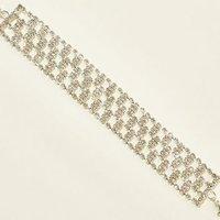 Silver Diamante Wide Link Bracelet New Look