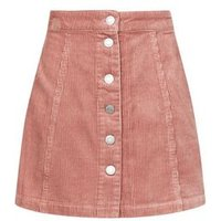 Girls Pink Curduroy Button Front Mini Skirt New Look