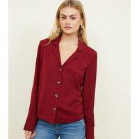 Tall Burgundy Herringbone Long Sleeve Shirt New Look