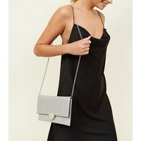 Silver Foldover Clutch Bag New Look
