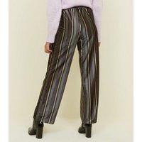 JDY Black Stripe Print Velvet Trousers New Look