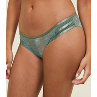Khaki Lace Strappy Briefs New Look