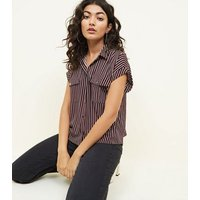 Red Stripe Short Sleeve Pocket Front Shirt New Look