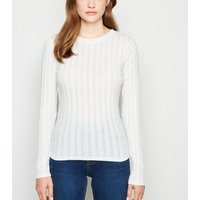Off White Ribbed Long Sleeve T-shirt New Look
