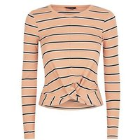 Camel Multi Stripe Ribbed Twist Front T-Shirt New Look