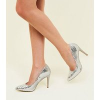 Silver Sequin Pointed Stiletto Court Shoes New Look